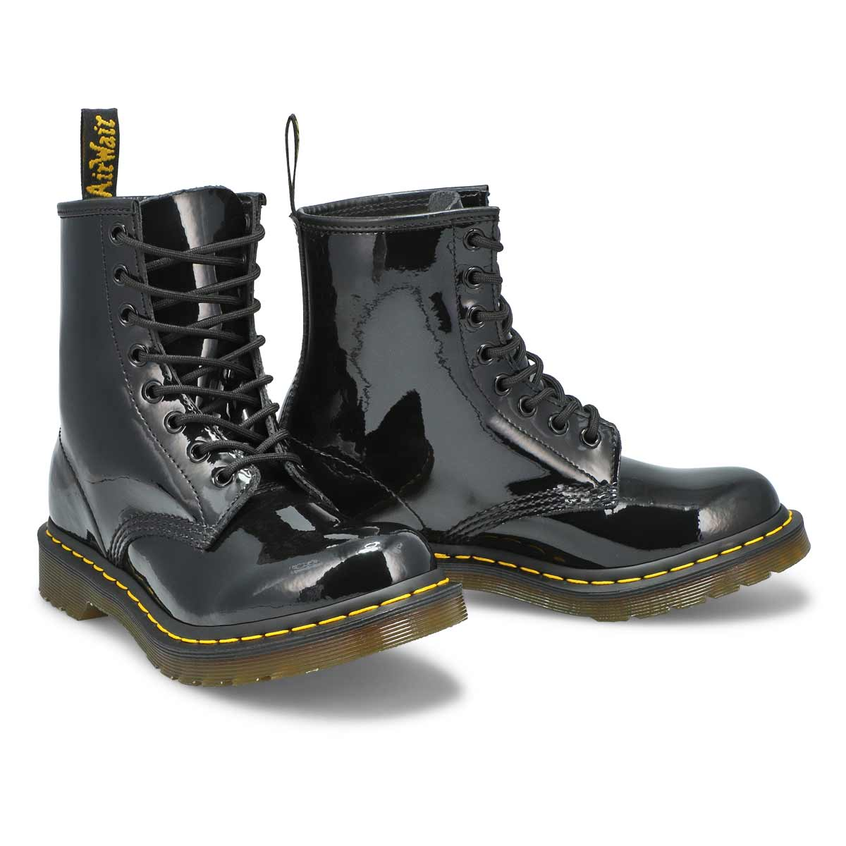 Lds 1460 8 eye black pat leather boot