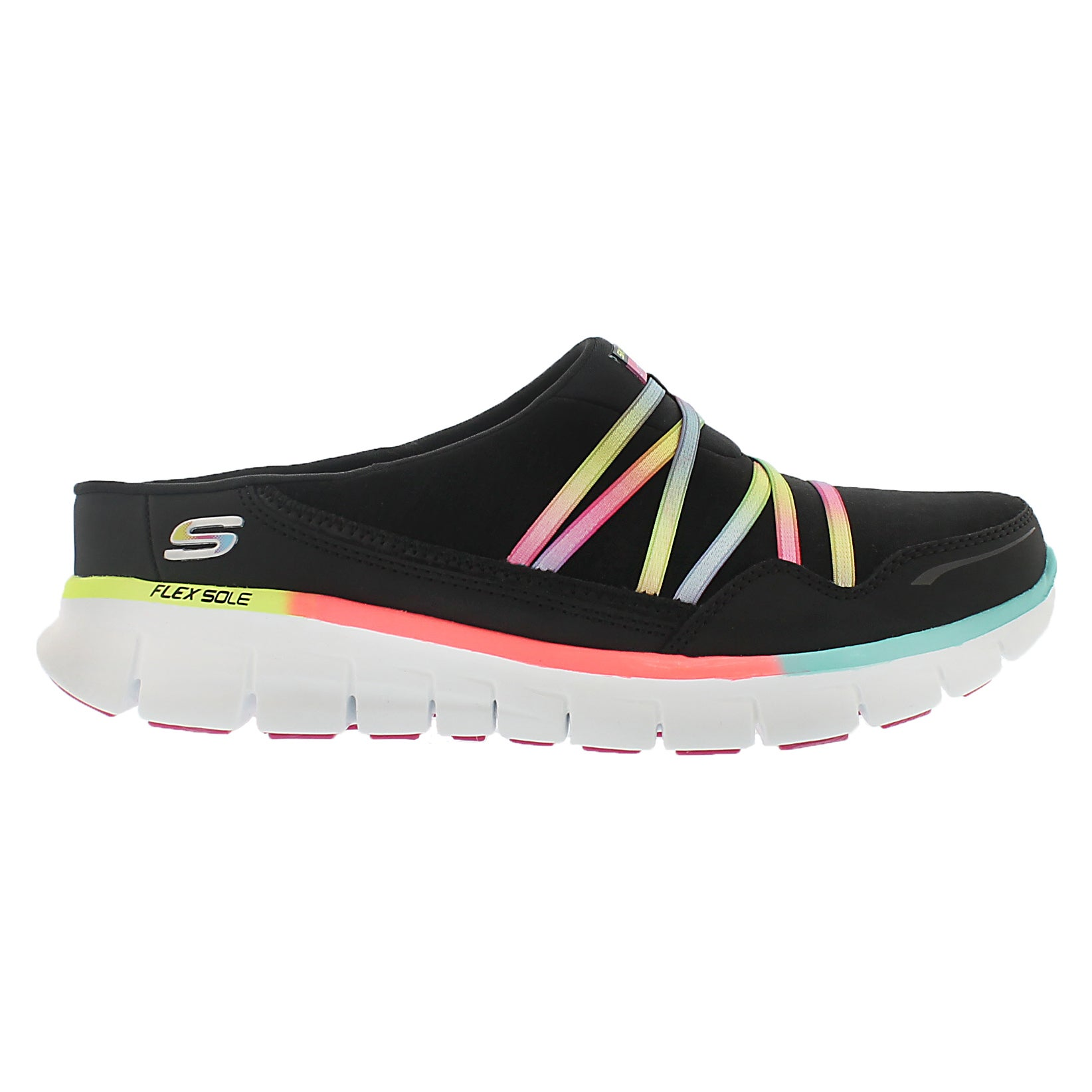 Lds Synergy blk multi open back sneaker