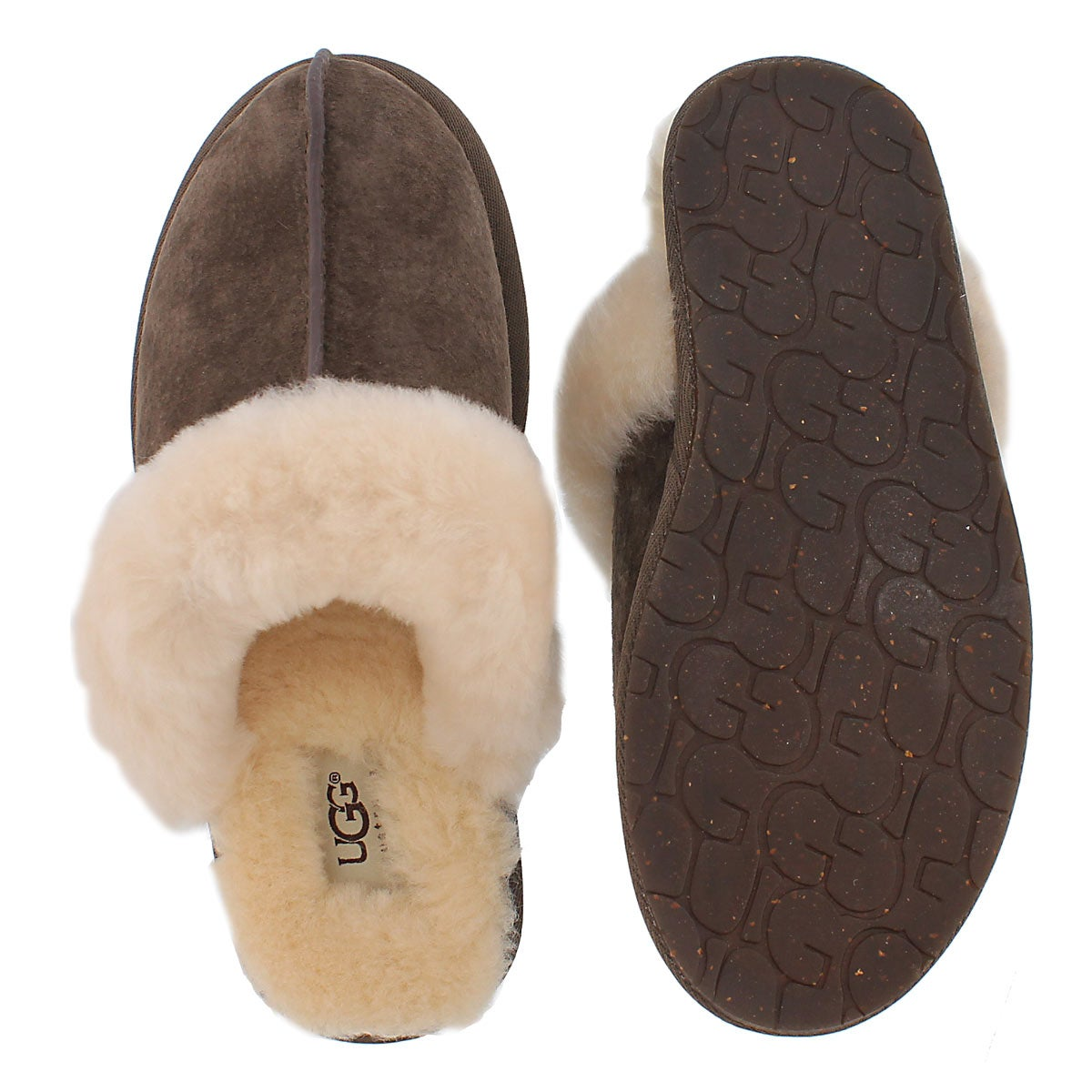 Lds Scuffette espresso sheepskin slipper