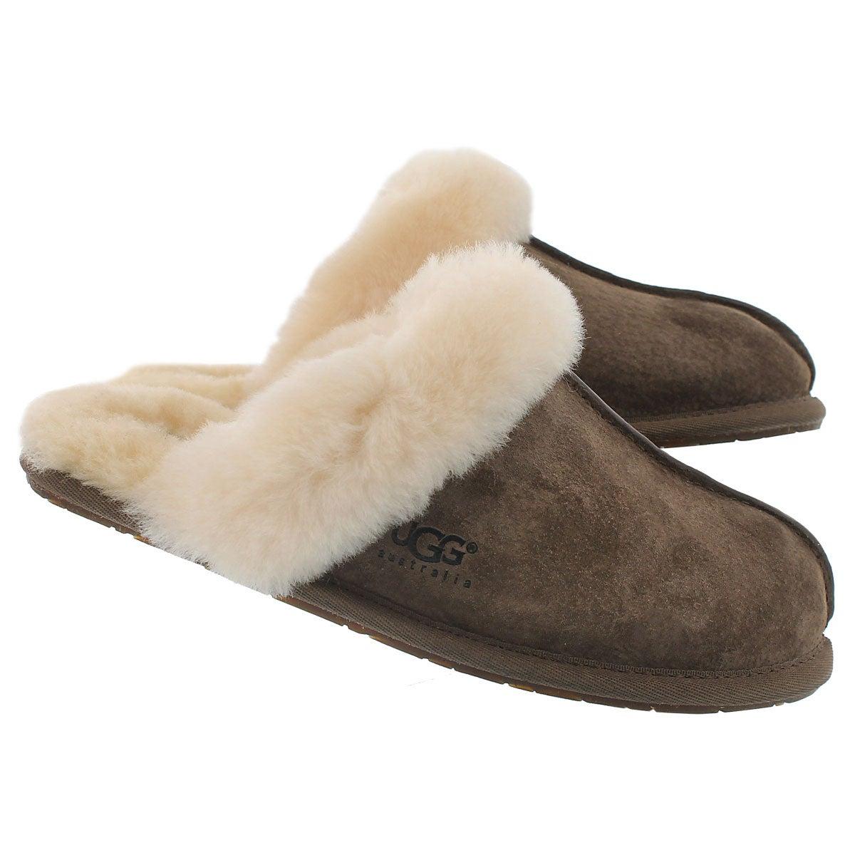 Lds Scuffette espresso sheepskin slipper
