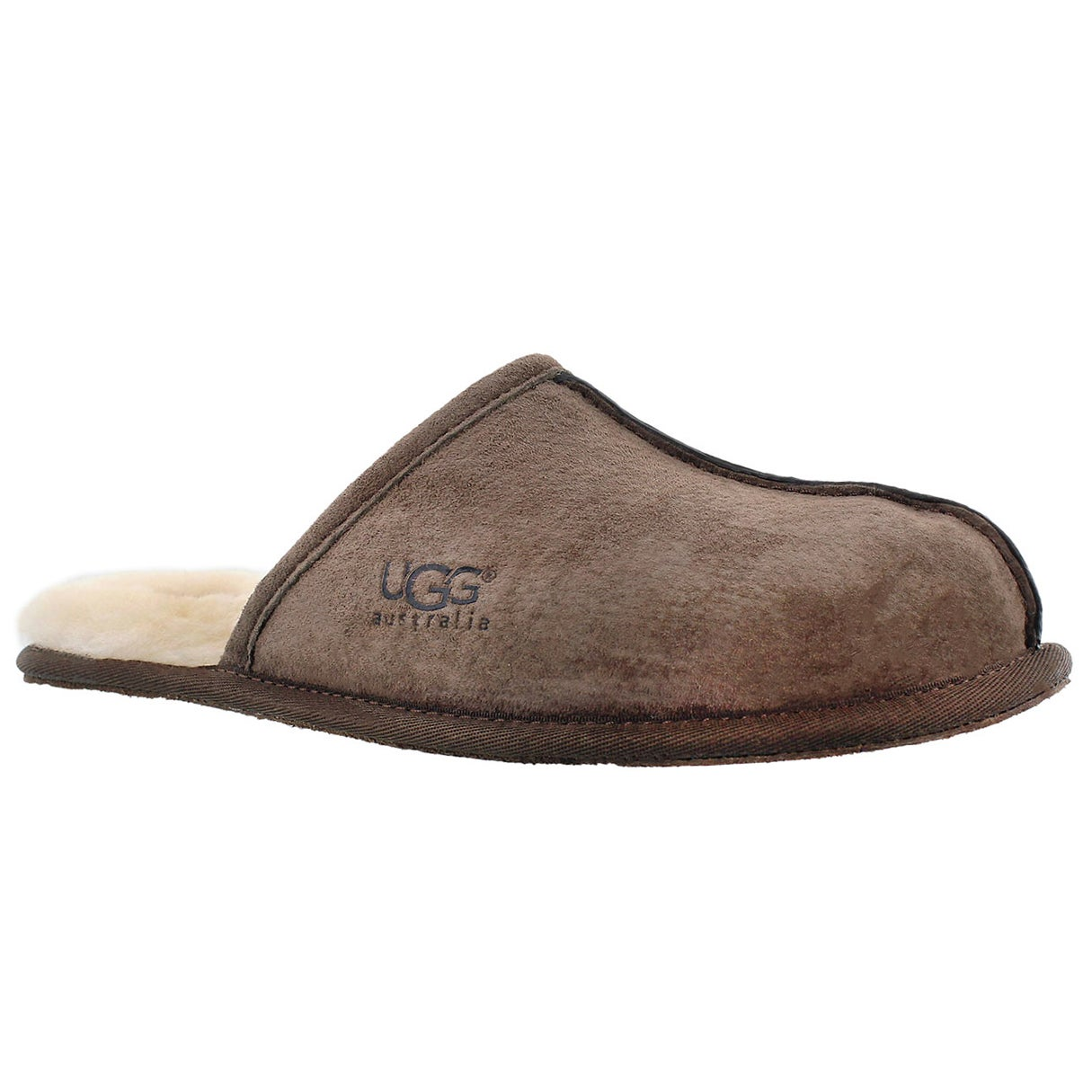 Men's SCUFF espresso suede/sheepskin slippers