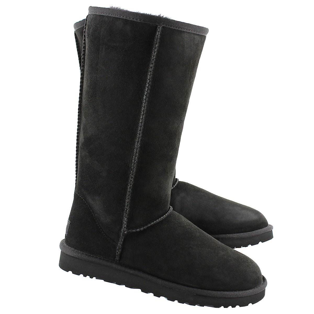 Lds Tall black sheepskin boot