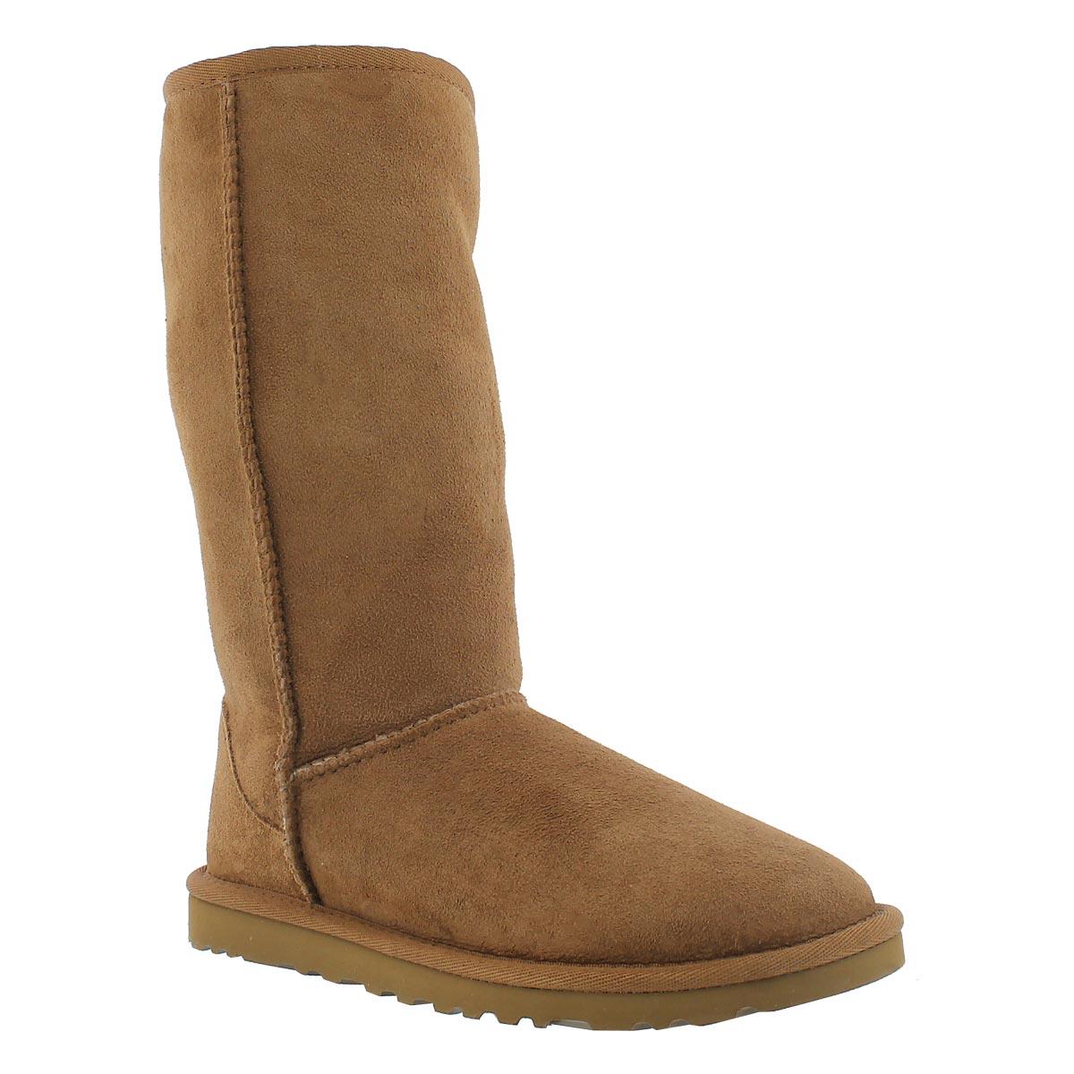 Lds Tall chestnut sheepskin boot