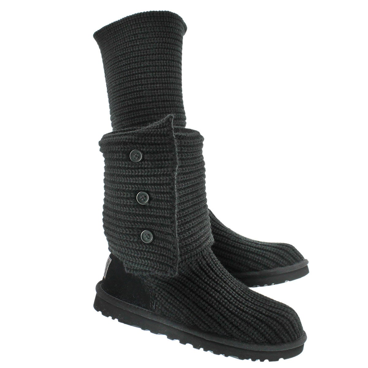 Lds Classic Cardy black knit button boot