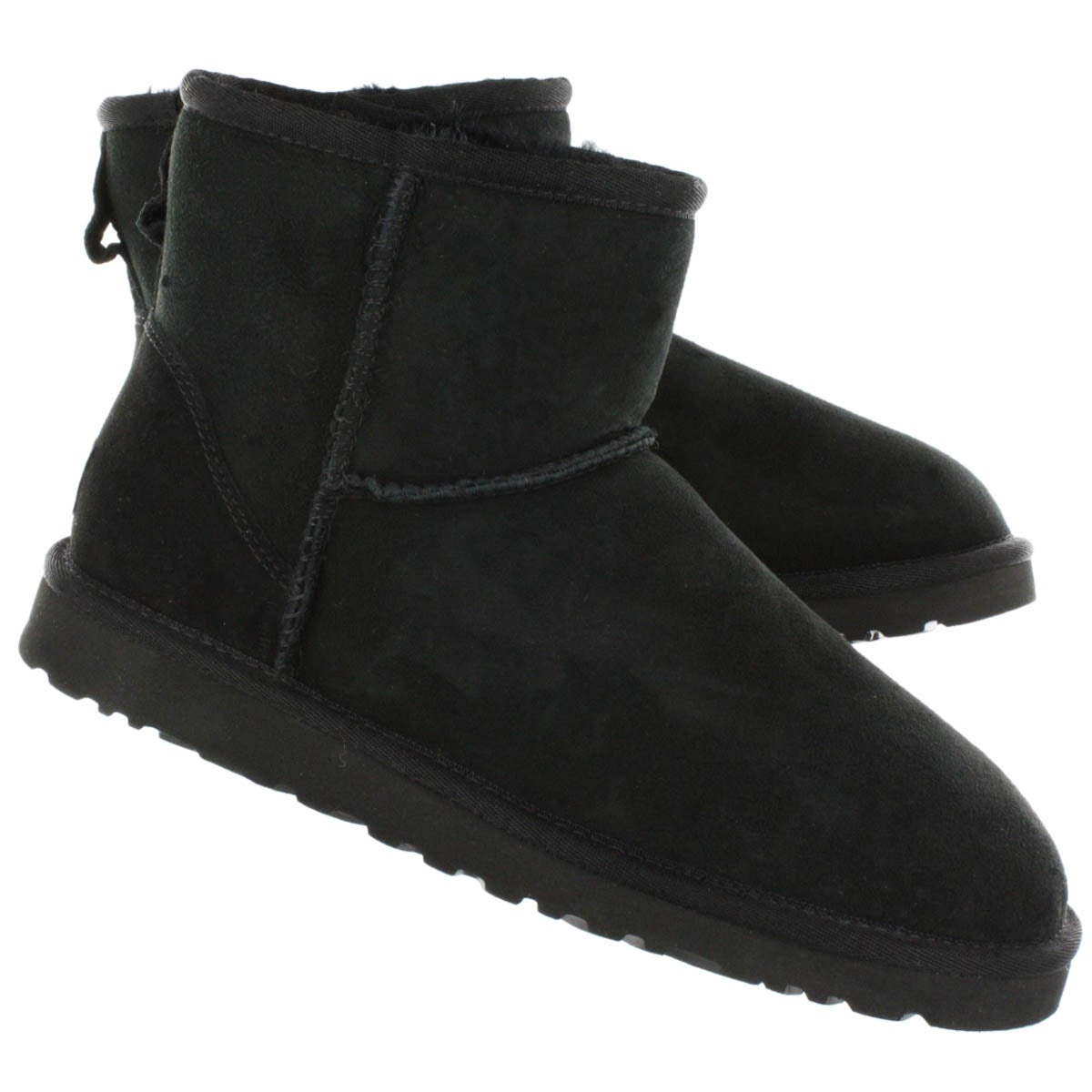 Lds Classic Mini black sheepskin boot