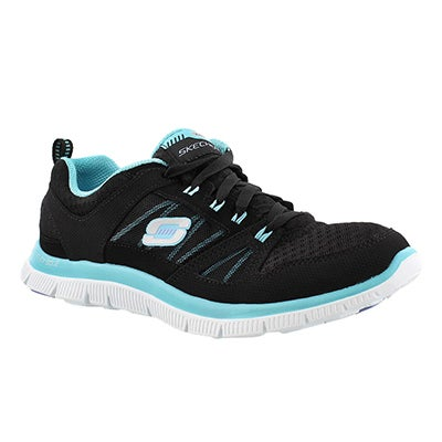 Skechers Women's ADAPTABLE black/turquoise lace up runners