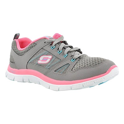 Skechers Women's ADAPTABLE grey/pink lace up runners