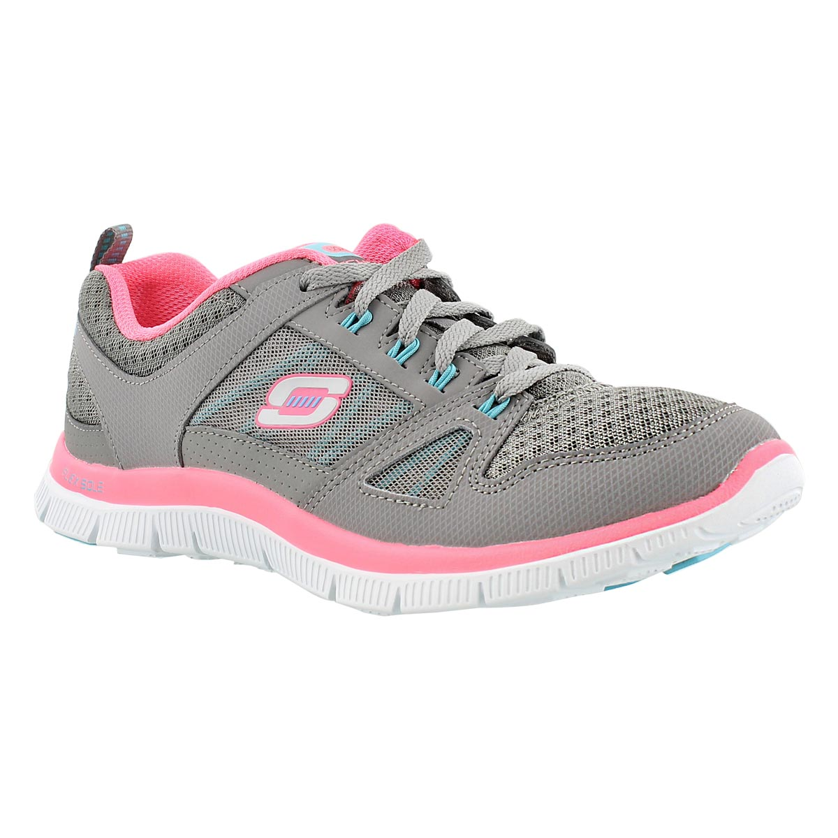 Lds Adaptable gry/pink lace up runner