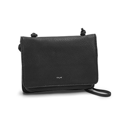 Co-Lab Women's 1211 black front flap cross body organizer
