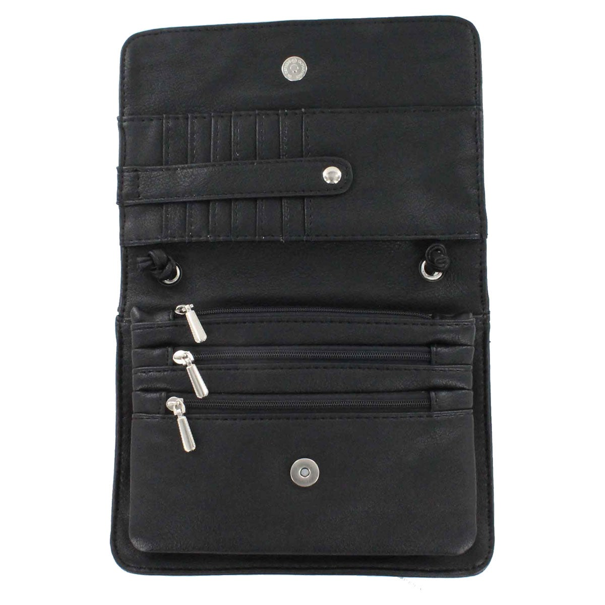 Lds black frnt flap cross body organizer