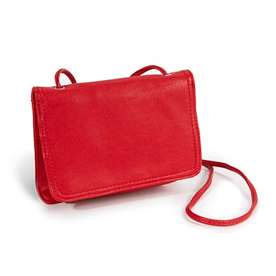 Co-Lab Women's 1211 red front flap cross body organizer