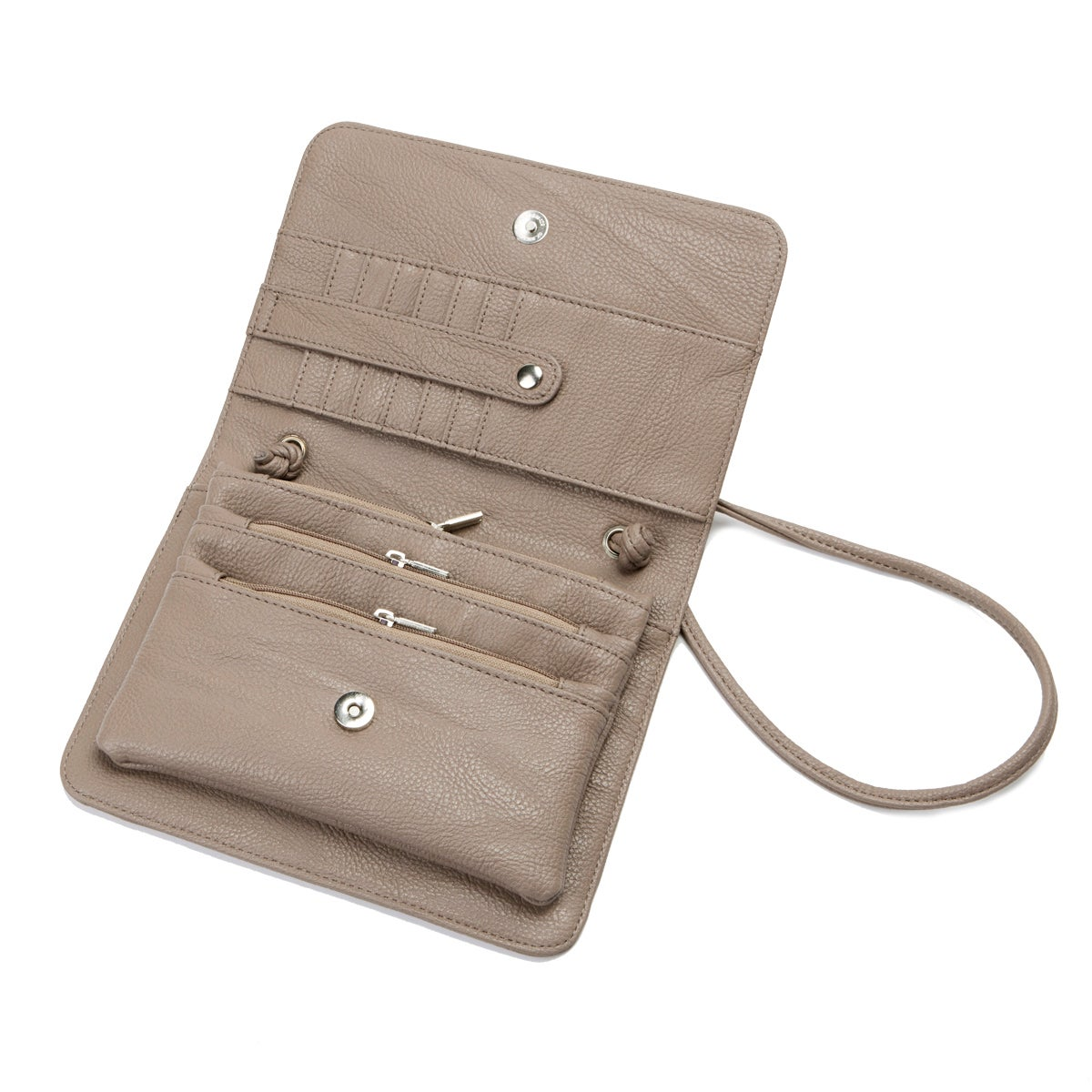 Lds taupe frnt flap cross body organizer