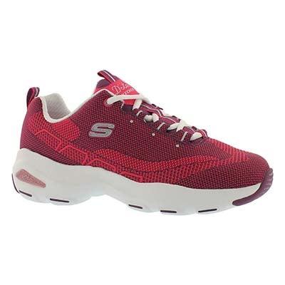 Lds D'Lite Ultra bgdy/pk lace up sneaker