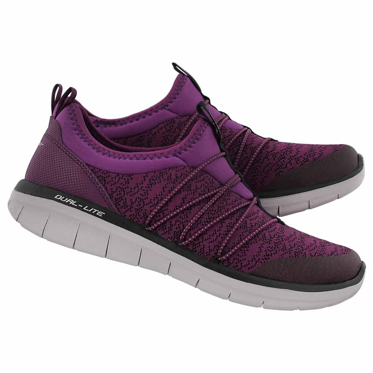 Lds Synergy 2.0 ppl/blk slip on sneaker