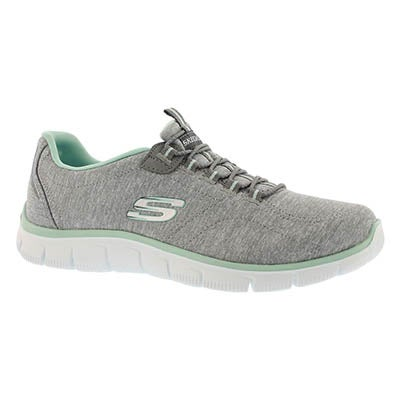 Lds Heart to Heart grey bungee sneaker