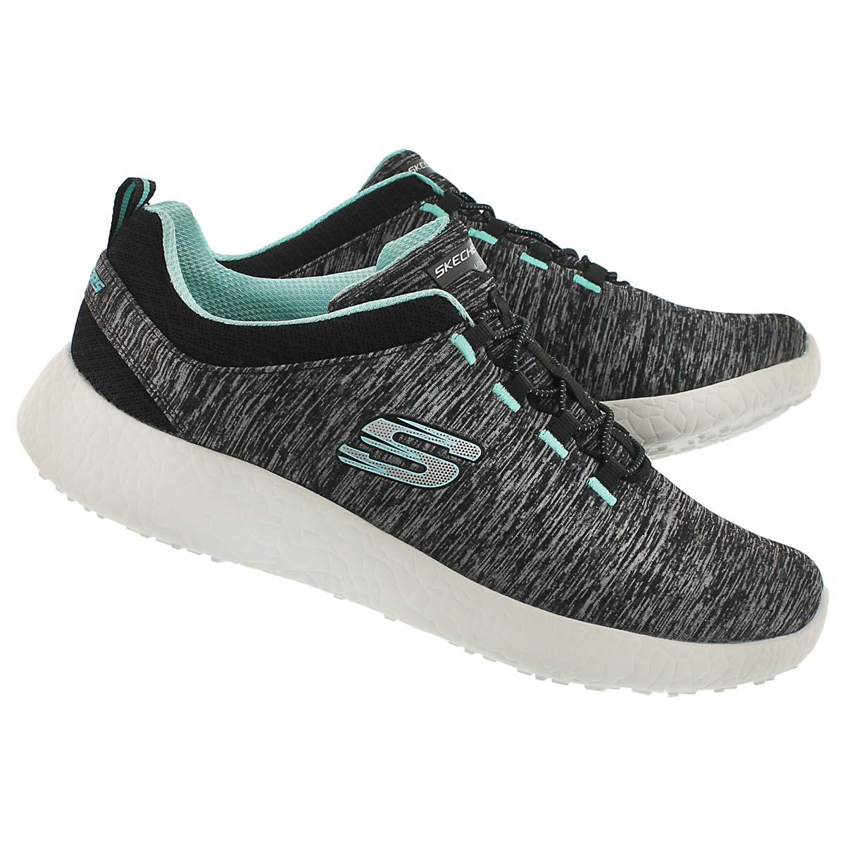 Lds Equinox blk/turq bungee running shoe