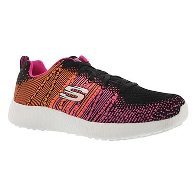 Skechers Women's ELLIPSE black/pink lace up sneakers