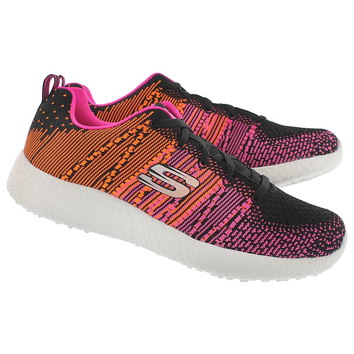 Lds Ellipse blk/pnk lace up running shoe