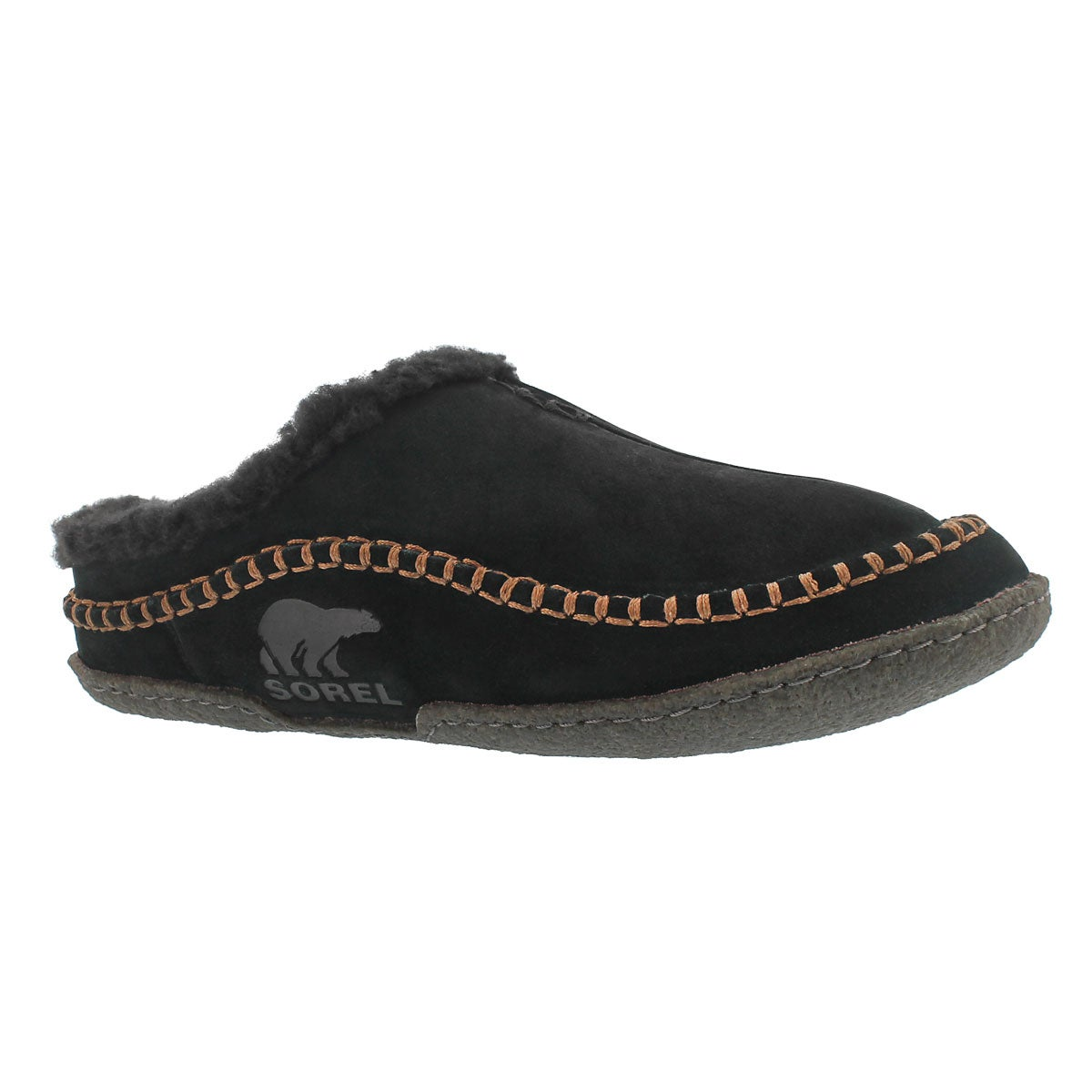 Men's FALCON RIDGE black open back slippers