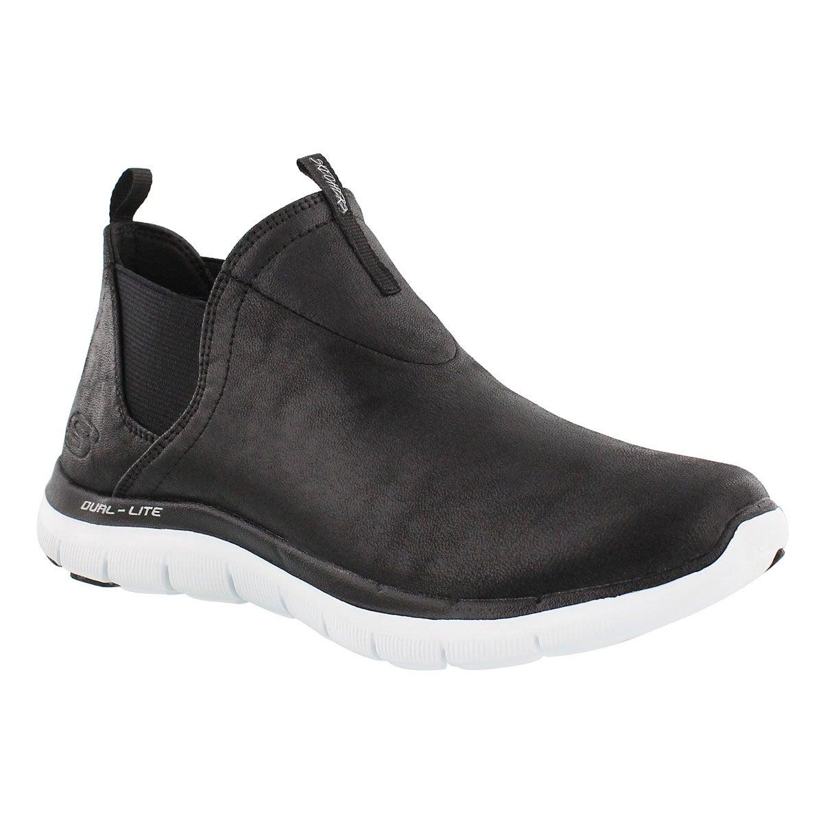 Lds Done Deal blk/wht slip on hi sneaker