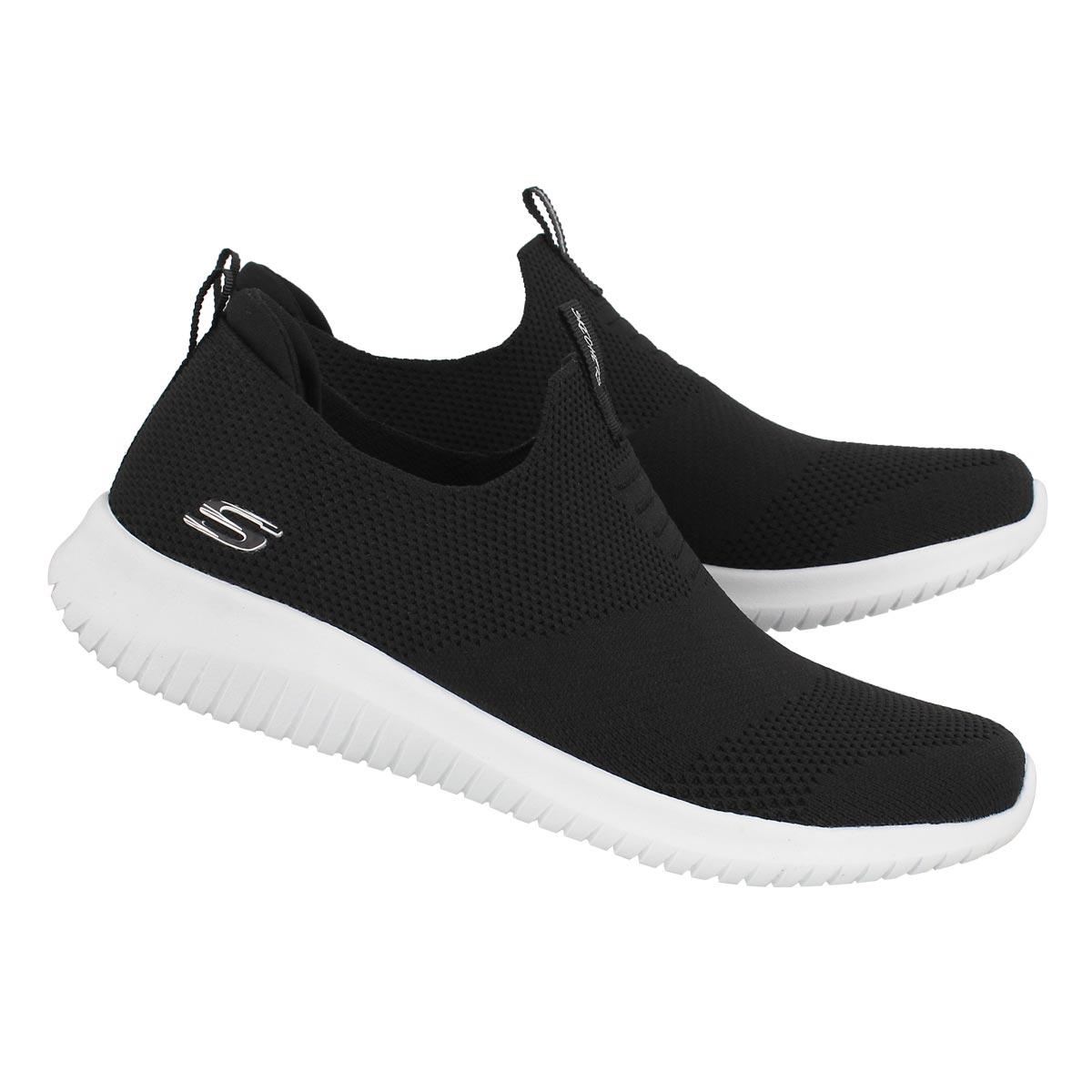 Lds Ultra Flex blk/wht slip on sneaker