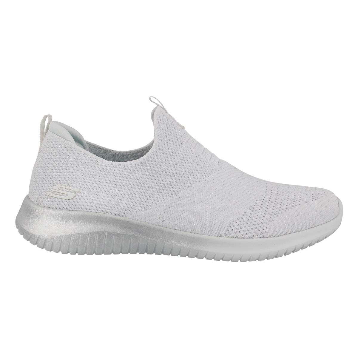 Lds Ultra Flex wht/slvr slip on sneaker