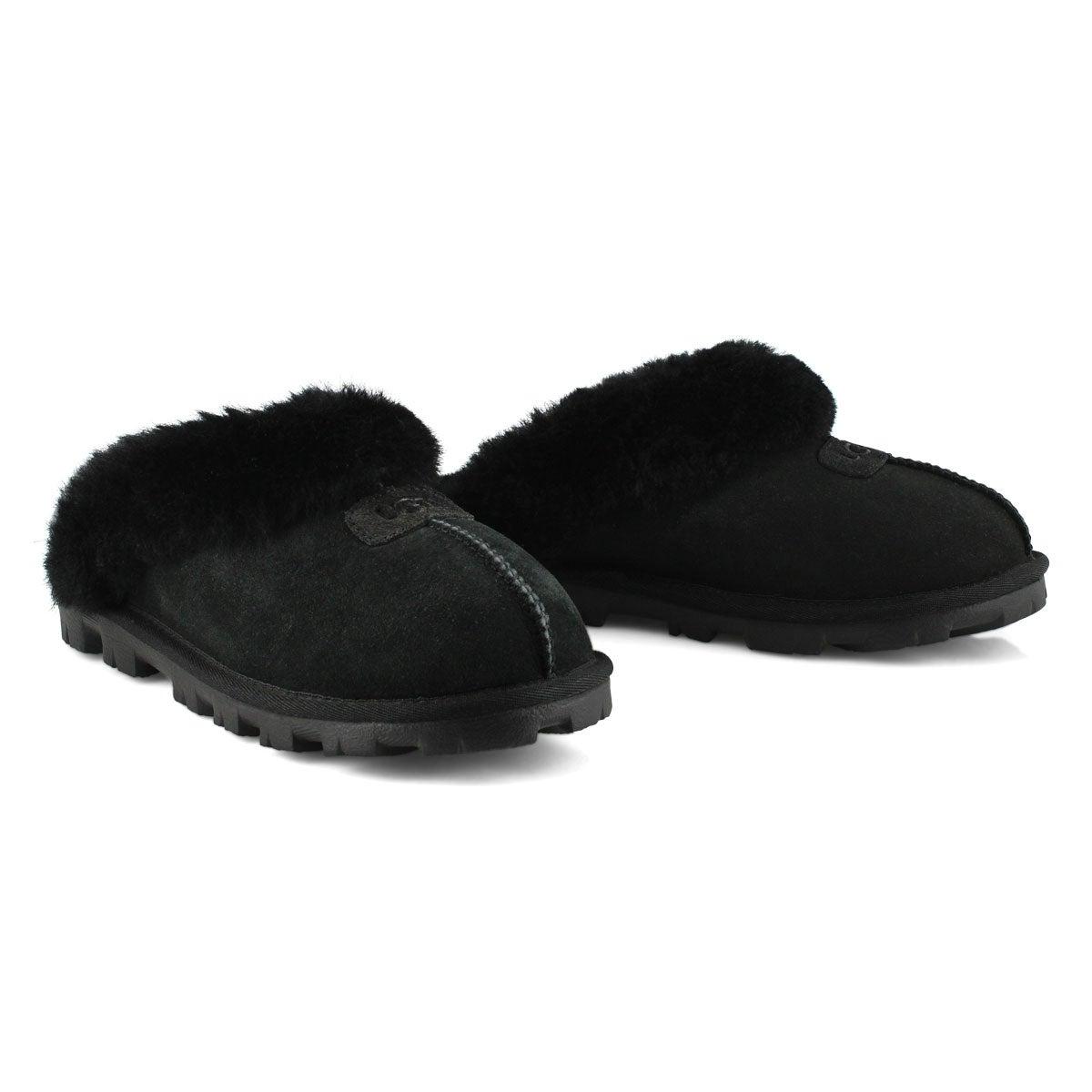 13d4c00aae7 Women's COQUETTE black sheepskin slippers