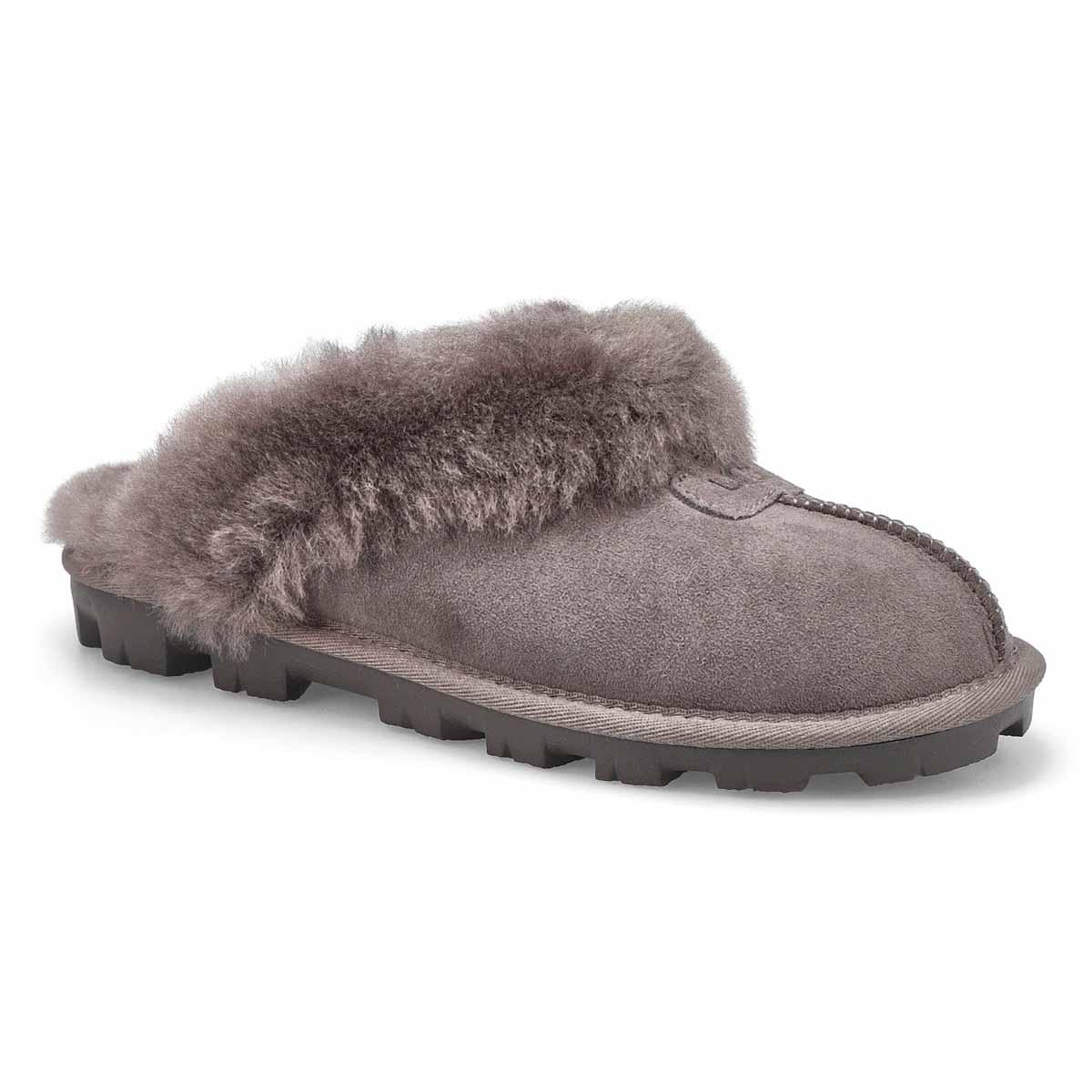 Women's COQUETTE grey sheepskin slippers