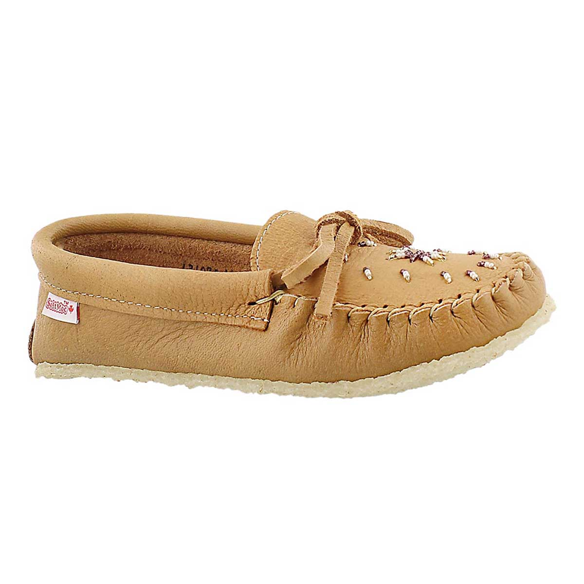 Lds tan crepe sole moccasin/beads