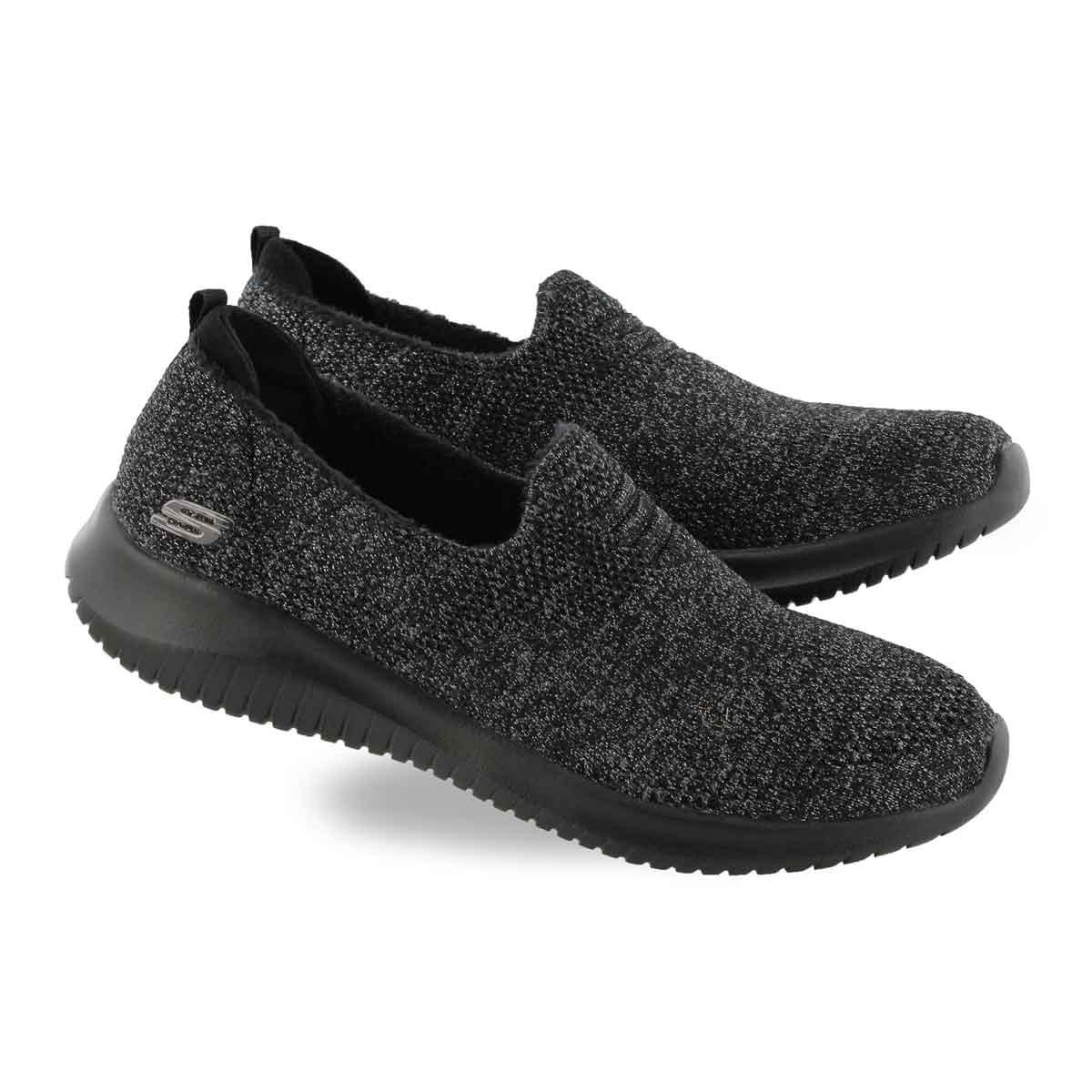 Lds Ultra Flex blk/char slip on sneaker