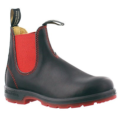 Blundstone Unisex ORIGINAL black/red pull-on boots -UK SIZING