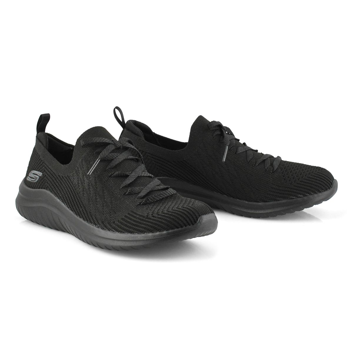 Lds Ultra Flex 2.0 bk/bk slip on sneaker