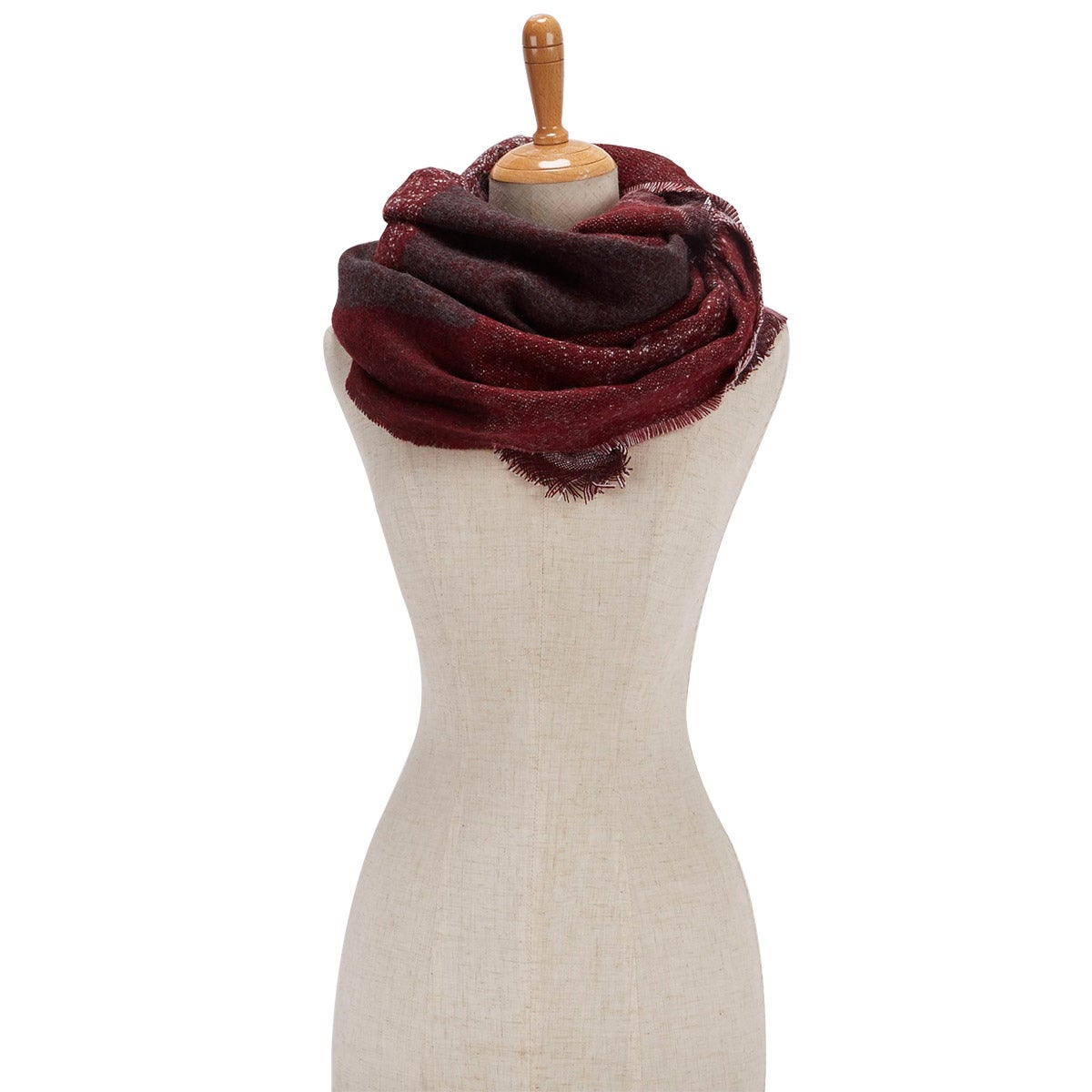 Lds Bias Cut Color Block Wrap wine scarf
