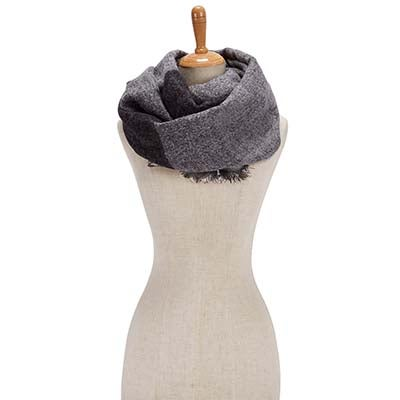 Lds Bias Cut Color Block Wrap grey scarf