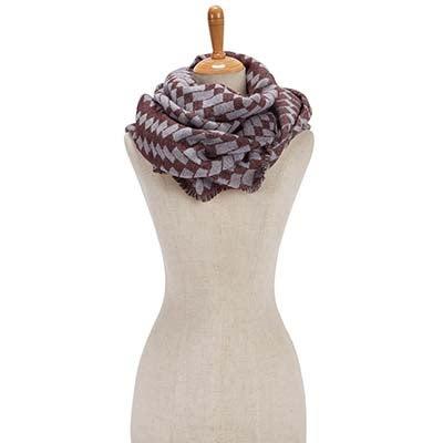 Lds BiasCutVerigatedGeoWrap wine scarf