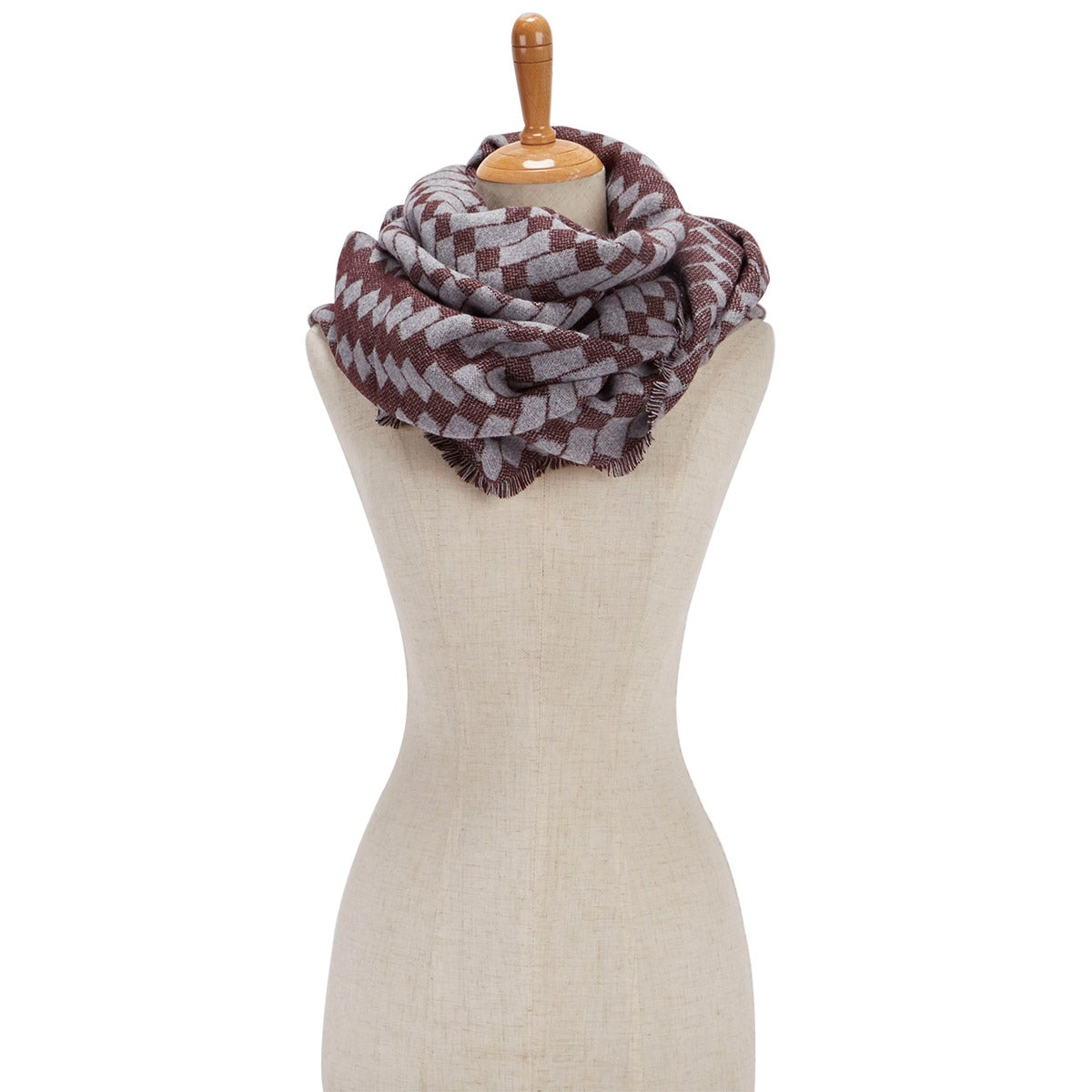 Women's BIAS CUT VERIGATED GEO WRAP wine scarves