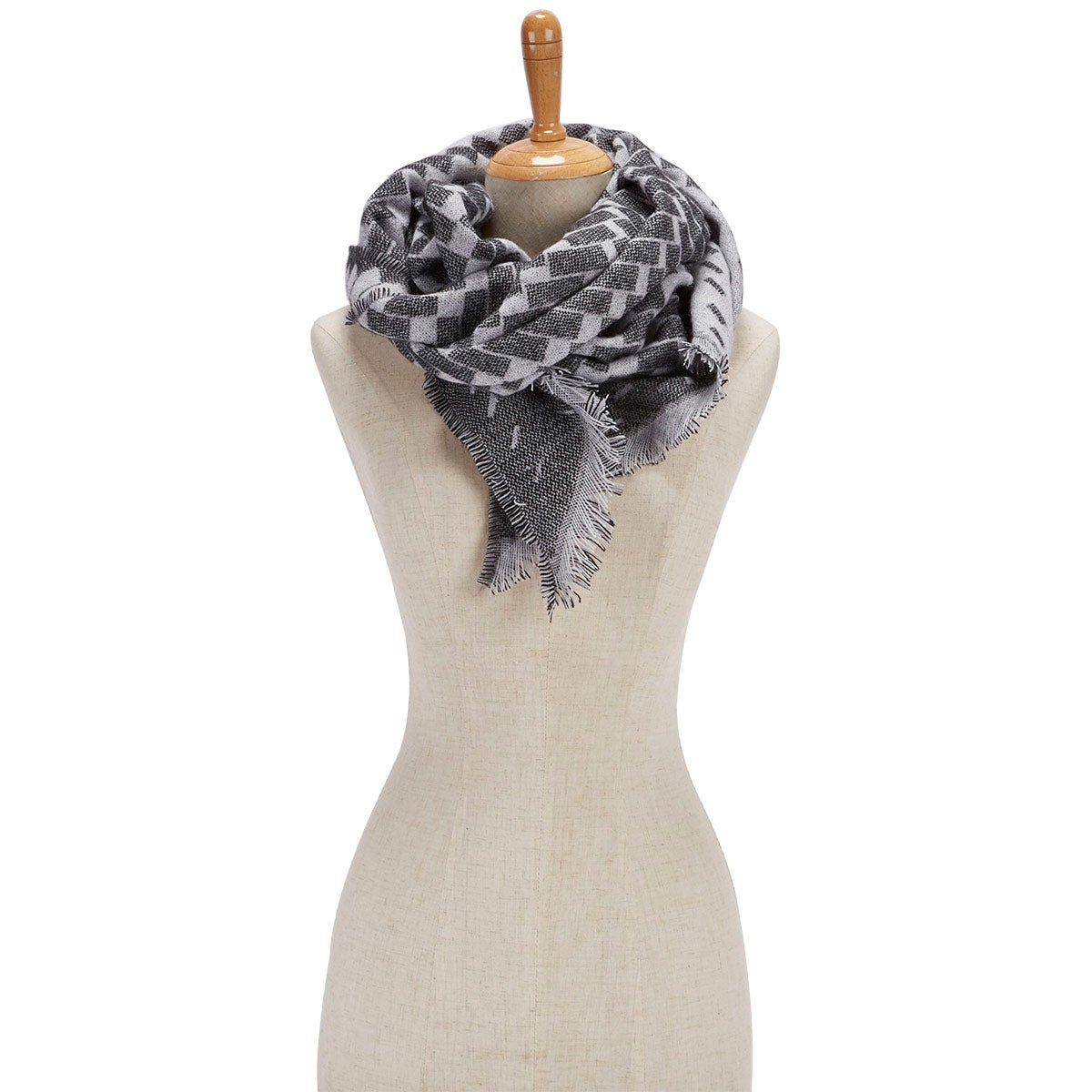 Women's BIAS CUT VERIGATED GEO WRAP grey scarves