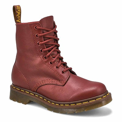 Dr Martens Women's PASCAL 8-Eye red soft leather boots