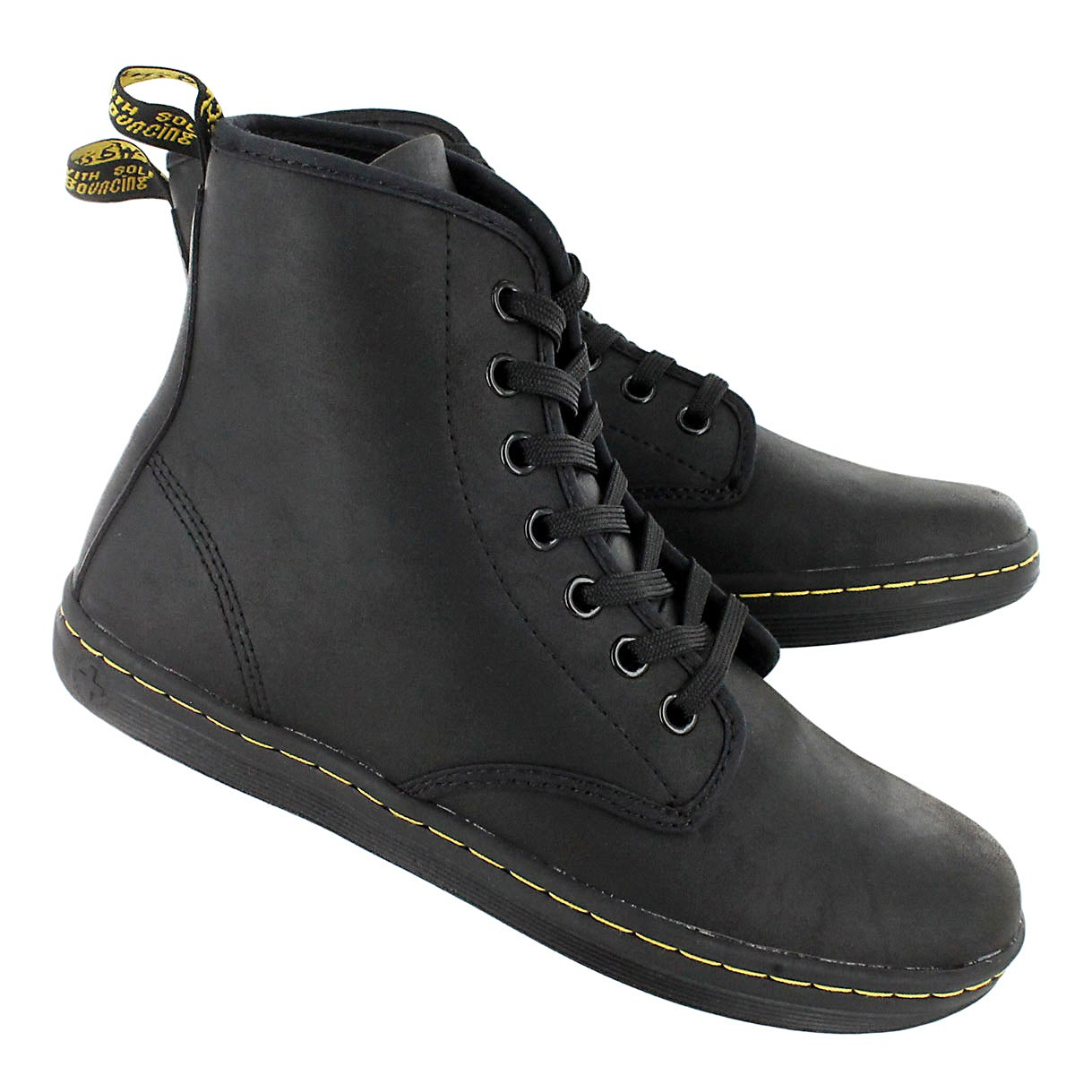 Lds Shoreditch black leather mid boot