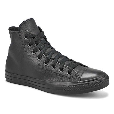 Mns CT All Star Leather blk mono hi top