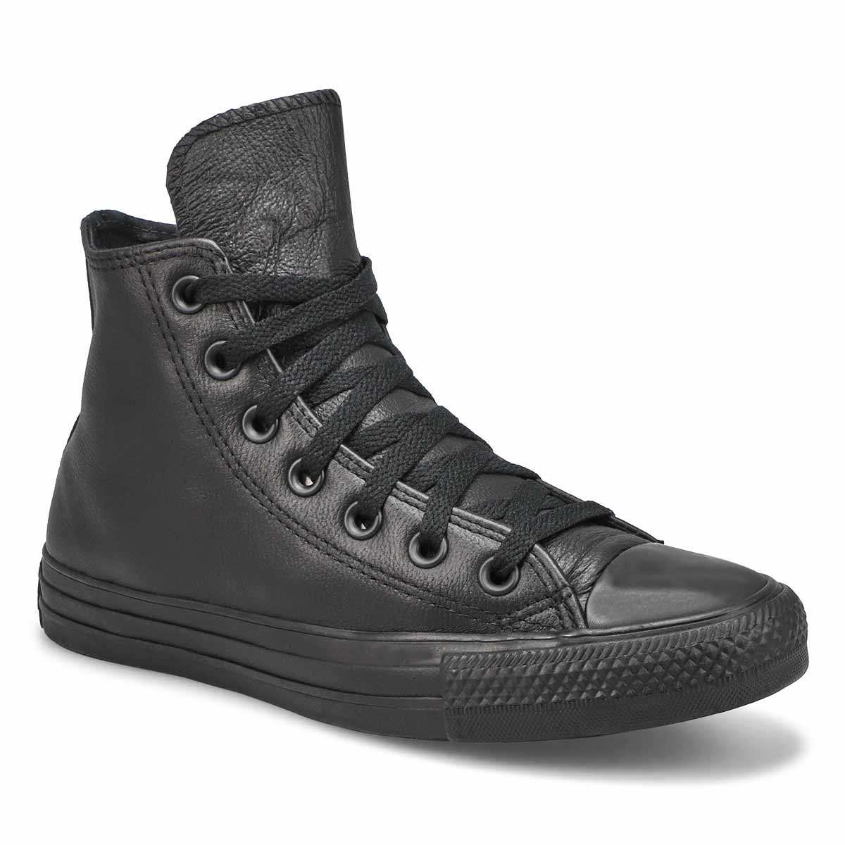 Lds CT All Star Leather blk mono hi top