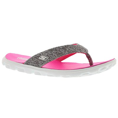 Skechers Women's FLOW grey/pink thong sandals