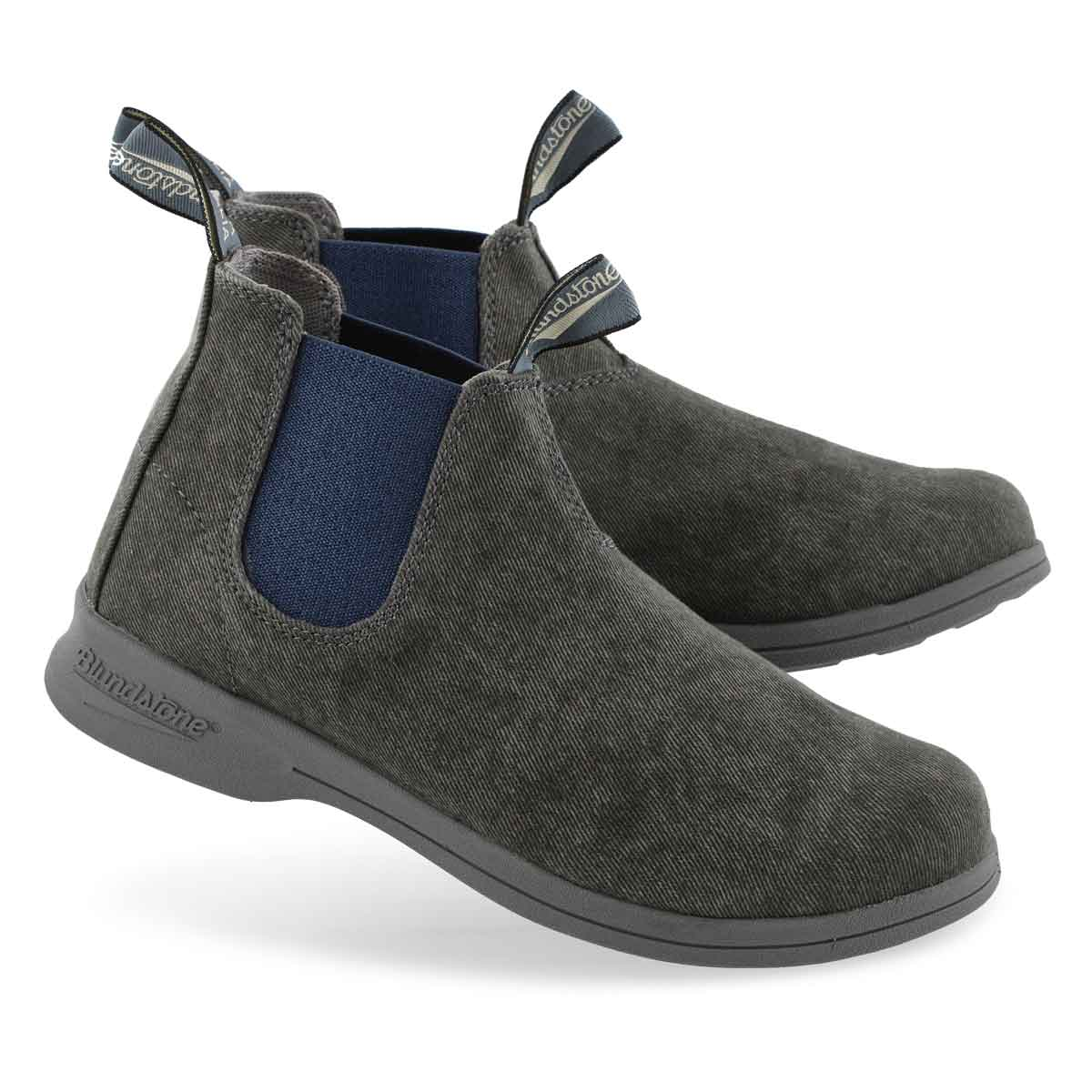 Unisex Canvas charcoal/blue pull on boot