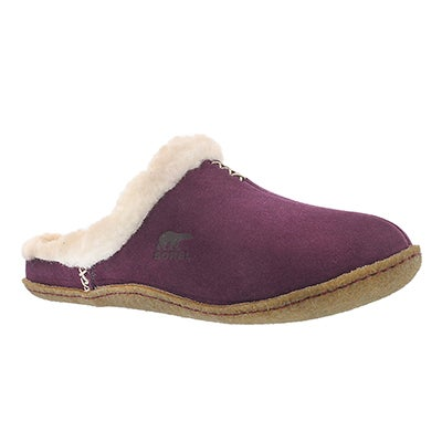 Lds Nakiska Slide purple suede slipper