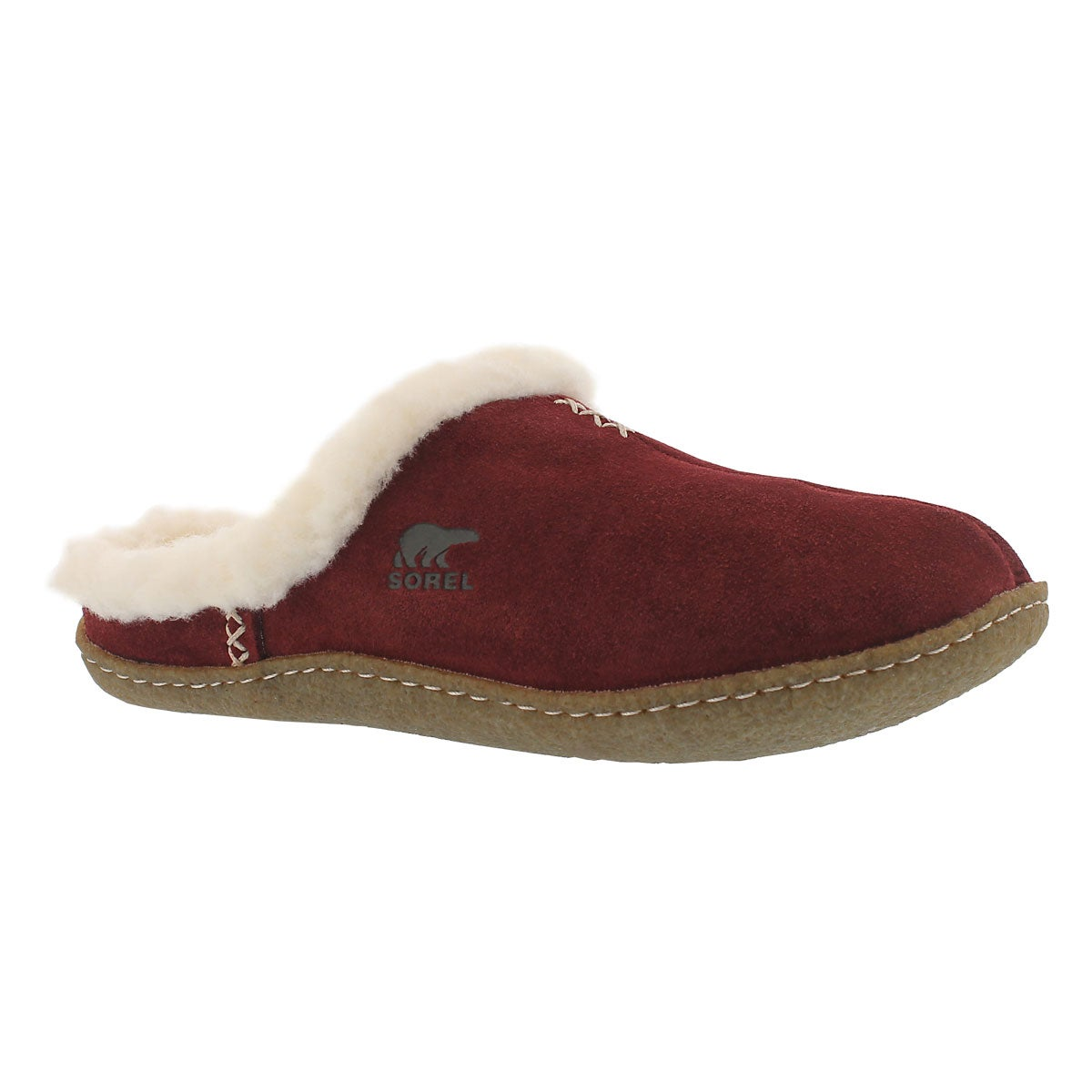 Lds Nakiska Slide red suede slipper