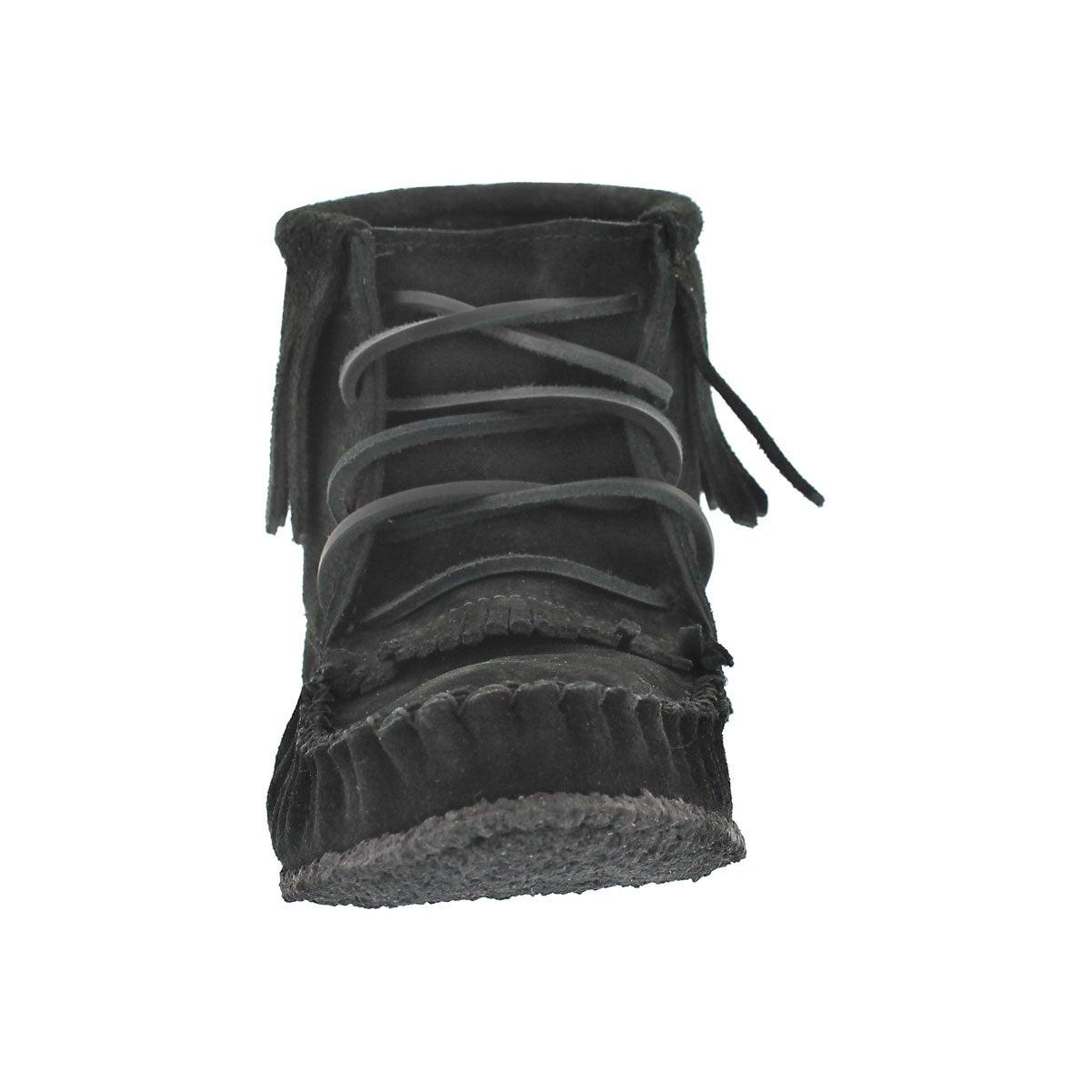 Mocassins bottines à frange noir, femmes