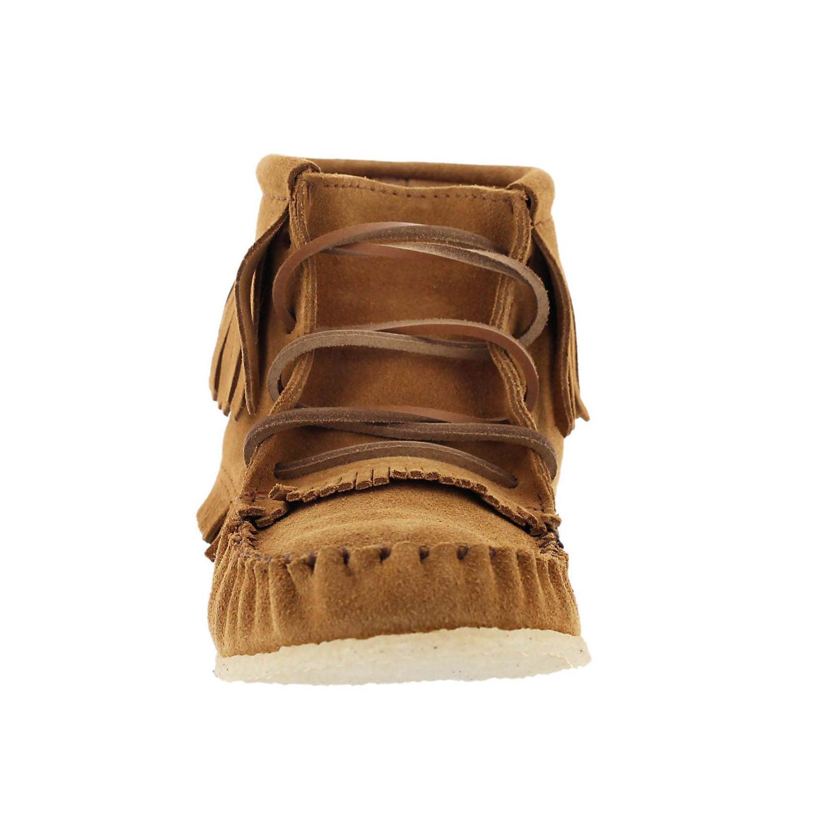 Lds tan fringe bootie moc w/memory foam