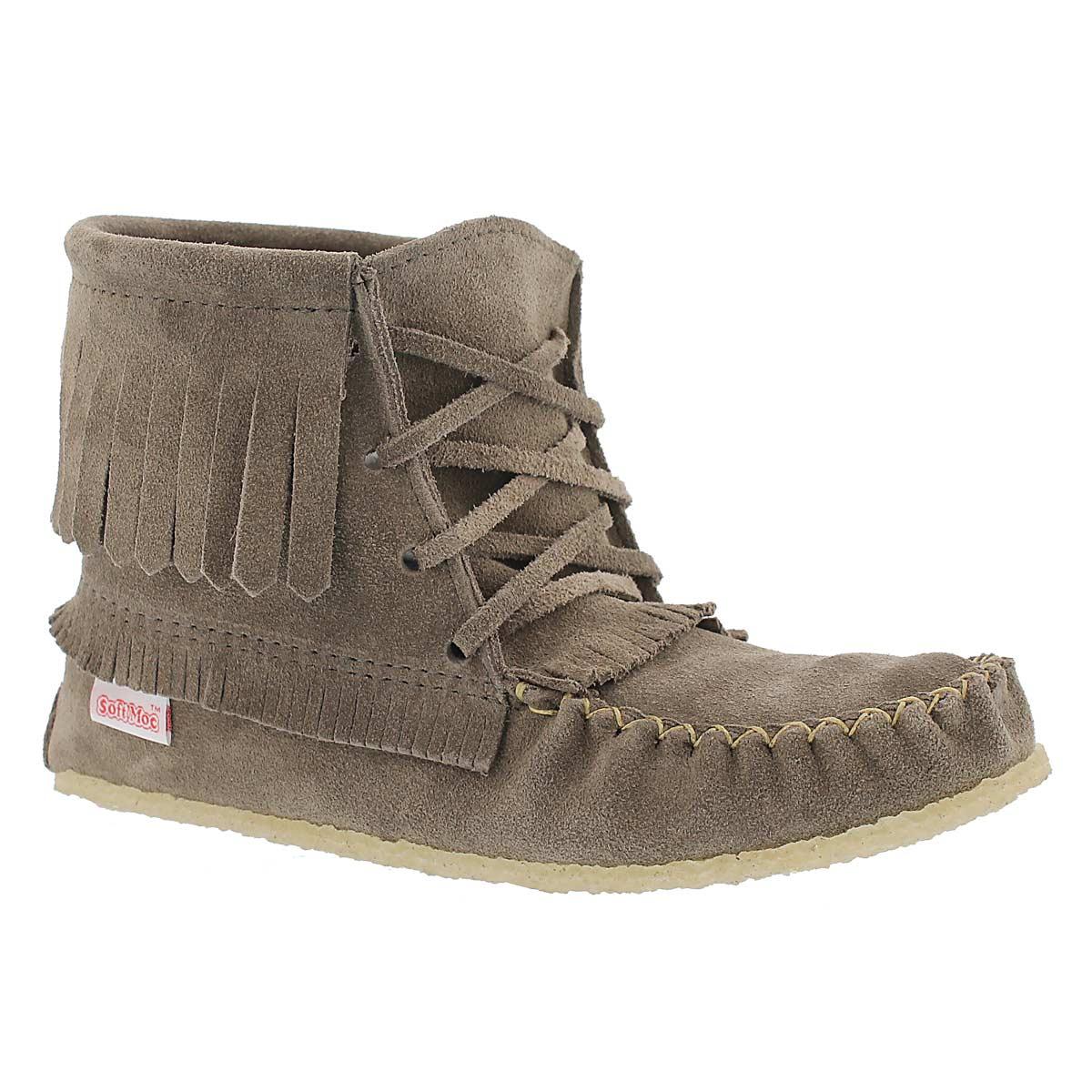 Lds grey fringe booti moc w/memory foam