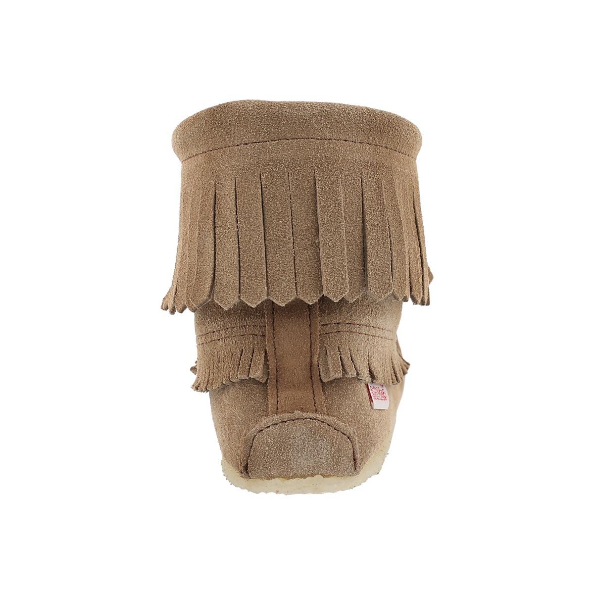 Mocassins bottines à frange moka, femmes