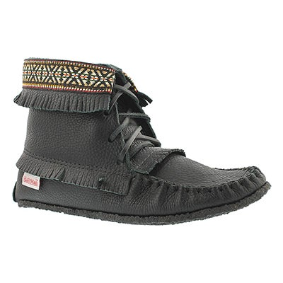 SoftMoc Bottine mocassin à franges noir 137597, femmes